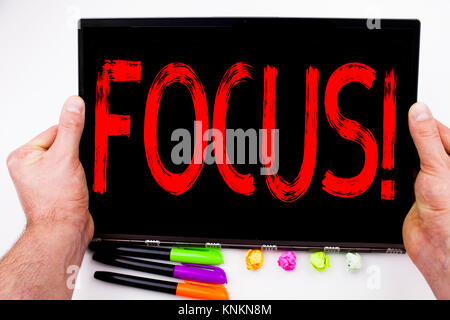 Focus text written on tablet, computer in the office with marker, pen, stationery. Business concept for Attention - Stock Photo