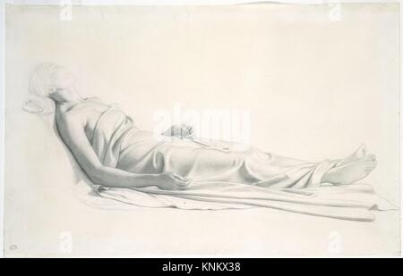 Drapery Study for the Figure of the Dying Mary Magdalen. Draftsman: Paul (Hippolyte) Delaroche (French, Paris 1797 - Stock Photo