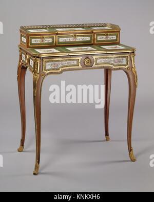 Desk (bonheur du jour). Maker: Martin Carlin (French, near Freiburg im Breisgau ca. 1730-1785 Paris); Factory: Porcelain - Stock Photo