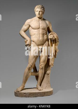 Marble statue of a youthful Hercules. Period: Early Imperial, Flavian; Date: 69-96 A.D; Culture: Roman; Medium: - Stock Photo