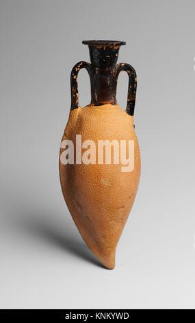 Terracotta amphoriskos (oil flask). Period: Classical; Date: 4th century B.C; Culture: Greek, Attic; Medium: Terracotta; - Stock Photo