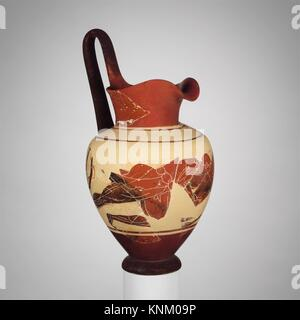 Terracotta oinochoe (jug). Attributed to the Painter of the Vienna Stamnos 318; Period: Archaic; Date: late 6th - Stock Photo