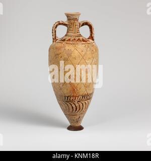 Terracotta amphoriskos (oil flask). Period: Archaic; Date: ca. 540-500 B.C; Culture: East Greek, Milesian, Fikellura; - Stock Photo