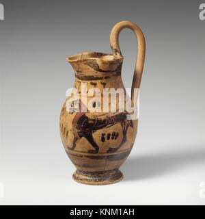 Terracotta oinochoe: olpe (jug). Related to the Group of the Early Olpai; Period: Archaic; Date: 1st half of 6th - Stock Photo