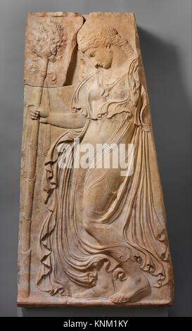 Marble relief with a dancing maenad. Adaptation of work attributed to Kallimachos; Period: Early Imperial, Augustan; - Stock Photo