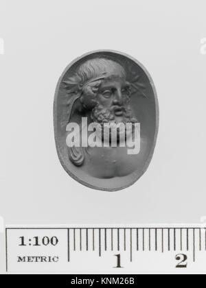 Amethyst ring stone with a bust of Dionysos. Period: Early Imperial; Date: 1st-2nd century A.D; Culture: Roman; - Stock Photo