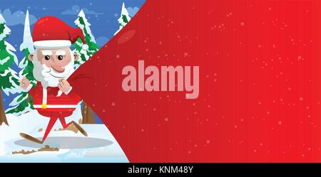 Santa Claus running and pulling huge bag of gifts with red copy space. Vector cartoon character illustration. - Stock Photo