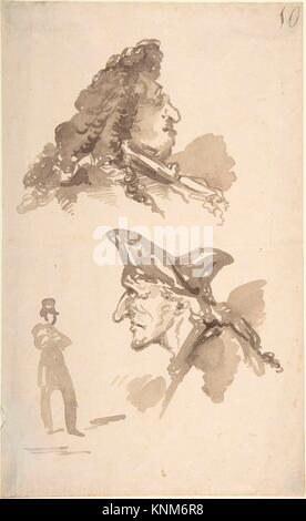 Sheet of Studies: Two Male Heads in Profile and Standing Man. Artist: Jean-Baptiste Isabey (French, Nancy 1767-1855 - Stock Photo