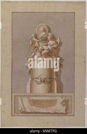Design for a Tomb. Artist: Pietro Bracci (Italian, Rome 1700-1773 Rome); Date: 1700-1773; Medium: Pen and brown - Stock Photo