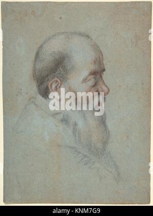 Bust of a Bearded Old Man, Profile to Right. Artist: Carletto Caliari (Italian, Venice 1567/70-1592/96 Venice); - Stock Photo