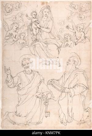 Virgin and Child Appearing in a Glory of Angels to Saint Peter and Saint Paul. Artist: Jacopo da Empoli (Jacopo - Stock Photo