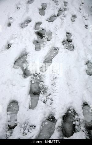 Footprints on a snowy pavement, Alverstoke, Gosport, Hampshire, England, UK: sudden snow storm in December 2017 - Stock Photo
