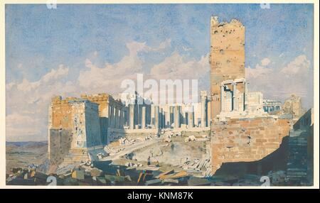 The Acropolis from the West, with the Propylaea and the Temple of Athena Nike, Athens. Artist: Thomas Hartley Cromek - Stock Photo