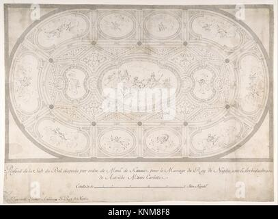 Ceiling of Ballroom decorated for the Marriage of the King of Naples to the Archduchess of Austria. Artist: Luigi - Stock Photo