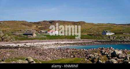 The small sandy beach at Reiff, a remote crofting settlement in the northwestern edge of the Coigach Pensinsula, - Stock Photo