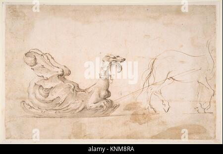 Design for A Sleigh in the Form of a Griffin, Drawn by a Horse. Artist: Stefano della Bella (Italian, Florence 1610 - Stock Photo