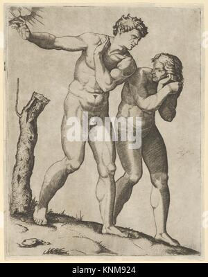 Adam and Eve being expelled from paradise. Artist: Marcantonio Raimondi (Italian, Argini (?) ca. 1480-before 1534 - Stock Photo