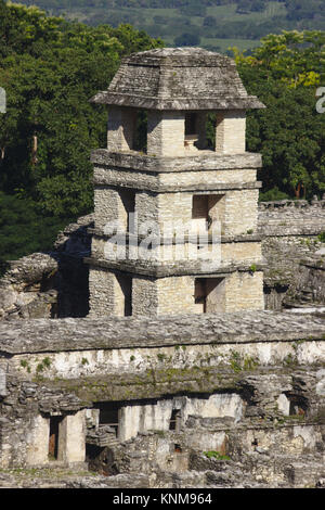 Palenque, tower of the palace, Chiapas, Mexico - Stock Photo