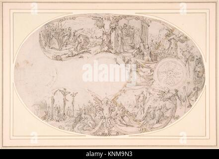 Design for a Silver Vessel with Scenes from the Passion of Christ. Artist: Paulus Willemsz. van Vianen (Netherlandish, - Stock Photo