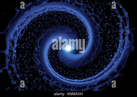 blue splash in x-ray on black. 3d rendering - Stock Photo