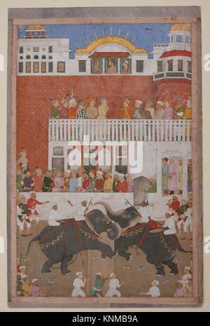 Shah Jahan Watching an Elephant Fight , Folio from a Padshahnama MET sf1989-135r Shah Jahan Watching an Elephant - Stock Photo