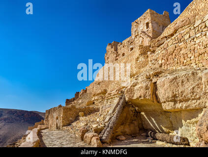 View of Chenini, a fortified Berber village in South Tunisia - Stock Photo