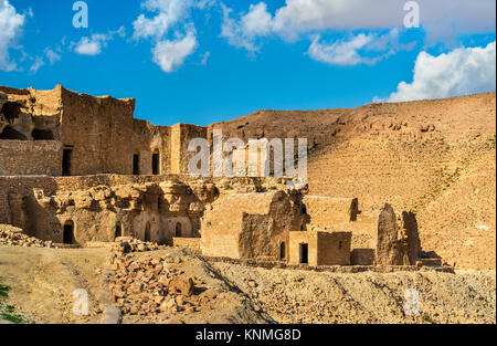 View of Doiret, a hilltop-located berber village in South Tunisia - Stock Photo