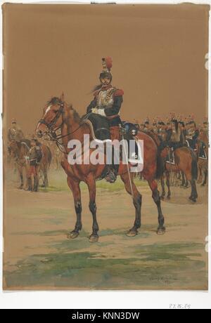 French Cuirassier. Draftsman: Édouard Detaille (French, Paris 1848-1912 Paris); Date: 1872; Medium: Watercolor; - Stock Photo