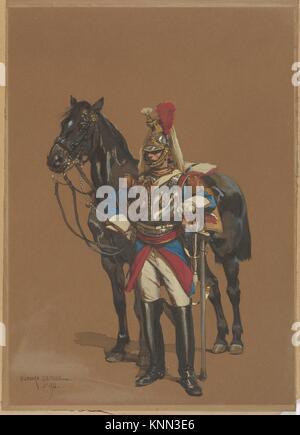 Cuirassier. Draftsman: Édouard Detaille (French, Paris 1848-1912 Paris); Date: 1872; Medium: Watercolor on paper; - Stock Photo
