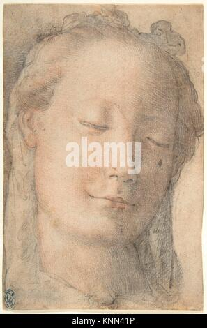 Head of a Young Woman in Three-quarter View Facing Right, with Lowered Eyes. Artist: Anonymous, Italian, Florentine, - Stock Photo