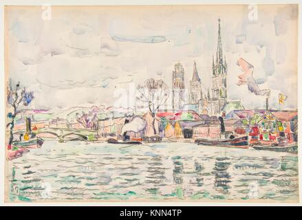 River scene: Rouen. Artist: Paul Signac (French, Paris 1863-1935 Paris); Date: April, 1924; Medium: Watercolor, - Stock Photo