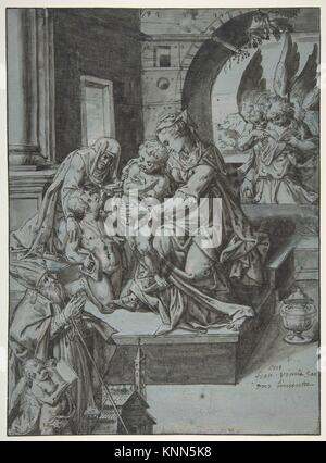 The Virgin and Child with the Infant Baptist, Saint Elizabeth, a Kneeling Prelate, and Three Attendant Angels. Artist: - Stock Photo