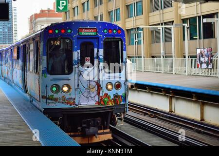 The CTA in Chicago operates special holiday trains in advance of Christmas annually over its entire system. Chicago, - Stock Photo