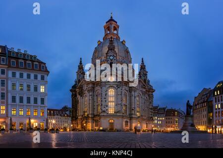 Dresden Frauenkirche Exterior City Landscape Square Marktplatz Center Architecture Beautiful Religious Monument - Stock Photo