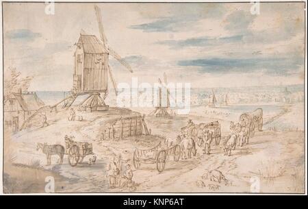 Dutch Landscape with Windmills. Artist: After Jan Brueghel the Elder (Netherlandish, Brussels 1568-1625 Antwerp) - Stock Photo