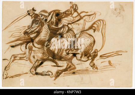 The Giaour on Horseback (recto); Study of a Woman with Head and Arms Thrown Back, and Study of the Head of an Old - Stock Photo