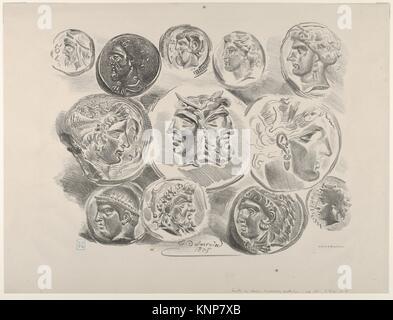 Studies of Twelve Greek and Roman Coins. Artist: Eugène Delacroix (French, Charenton-Saint-Maurice 1798-1863 Paris); - Stock Photo