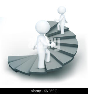 illustration of 3d characters climbing steps of success on an isolated white background - Stock Photo