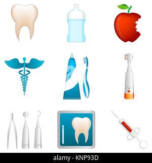 illustration of dental icons on white background - Stock Photo