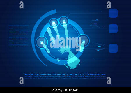 illustration of digital hand print on white background - Stock Photo