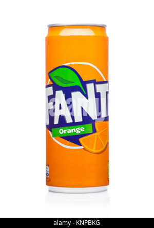 LONDON, UK -DECEMBER 07, 2017: Fanta little can soft drink on white background. Fanta is popular fruit-flavored - Stock Photo