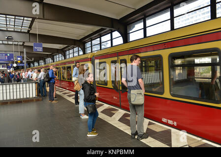 City railroad, railway station zoo, Charlottenburg, Berlin Germany, S-Bahn, Bahnhof Zoo, Berlin Deutschland - Stock Photo