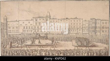 An Execution of Seven Boores Rebels in Lintz, June 16, 1636. Artist: Anonymous; Artist: Wenceslaus Hollar (Bohemian, - Stock Photo