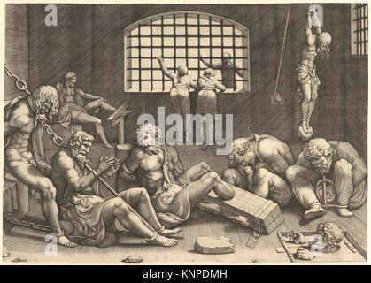 The Prison; a group of men in a dungeon bound in chains and shackles; to the right a figure hanging from his arms, - Stock Photo