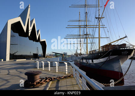 The Glenlee steel hulled ship docked at the Riverside Museum of Transport and travel, Glasgow, Scotland, UK - Stock Photo
