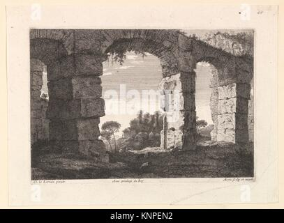 Ruines d'Aqueduc. Artist: Jean Morin (French, Paris ca. 1605-1650 Paris); Artist: After Claude Lorrain (Claude Gellée) - Stock Photo