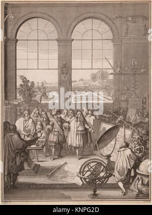 Louis XIV Visiting the Royal Academy of Sciences. Artist: Sébastien Leclerc I (French, Metz 1637-1714 Paris); Date: - Stock Photo