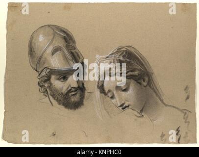 Heads Studies for ´Castor and Pollux Freeing Helen´. Artist: Joseph-Ferdinand Lancrenon (French, 1794-1874); Date: - Stock Photo