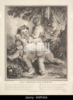 The Cheerful Cupids. Artist: Jean Daullé (French, Abbeville 1703-1763 Paris); Artist: After François Boucher (French, - Stock Photo