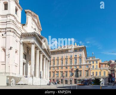 The Basilica della Santissima Annunziata del Vastato, Piazza della Nunziata, Genoa, Liguria, Italy - Stock Photo